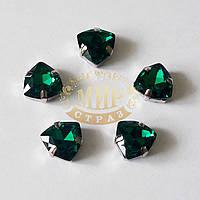 Cтразы в цапах Триллиант, размер 12мм, цвет Emerald, 1шт