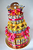 """Торт из Барни и соков для девочки """"Миньоны"""" на 18 человек, фото 1"""
