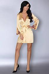 Свободный женский халатик с кружевом, золотой