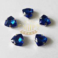 Cтразы в цапах Триллиант, размер 12мм, цвет Sapphire, 1шт