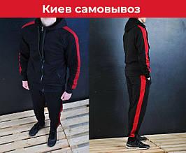 Мужской спортивный костюм без лого / Костюм лампасы бордо