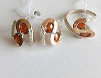 Серебряный комплект Соломия с красным камнем, фото 1