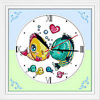 Вышивка Часы. Поцелуй рыбок. Идейка