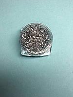 Стружка для декора ногтей в баночке серебряная