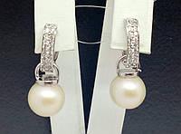 Серебряные серьги с жемчугом и фианитами. Артикул 902-0033310/3, фото 1