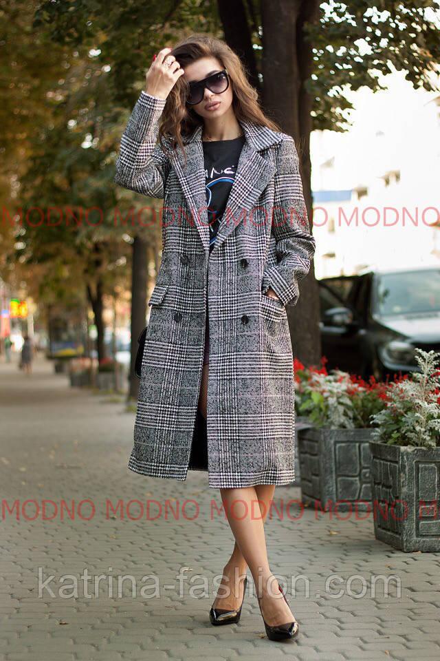 Женское стильное прямое пальто-пиджак в клетку  продажа 09a91c53100be