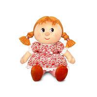 Мягкая игрушка - КУКЛА МАРУСЯ В СИТЦЕВОМ ПЛАТЬЕ (муз., 26,5 см)