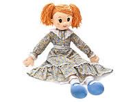 Мягкая игрушка - КУКЛА НАСТЯ В СИТЦЕВОМ ПЛАТЬЕ (муз., 38 см)