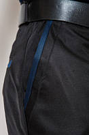 Черные классические мужские брюки с декоративной отделкой на карманах