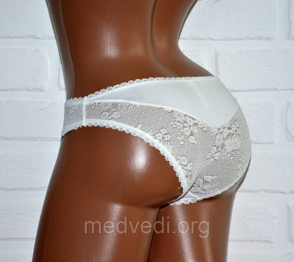 Белые женские трусы бренд Pierre Cardin реплика, хлопок, с кружевом, размер S