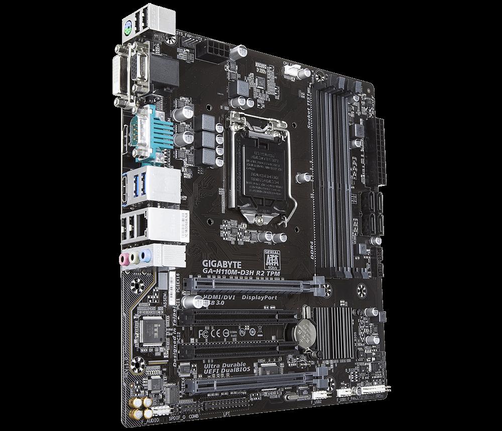 Материнская плата Gigabyte GA-H110M-D3H R2 (s1151; Intel H110; 4хDDR4 2400 МГц до 64 ГБ;1xPCI-E 3.0 x16; microATX) новая