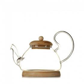 Чайник с крышкой и подставкой из бамбука 600 мл (6818)
