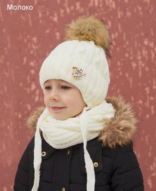 Зимняя шапка для девочки с помпоном с завязками