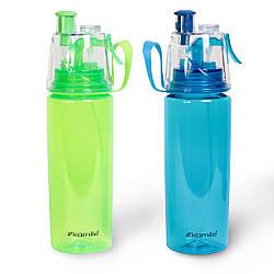 Спортивная бутылка для воды 570 мл  из пластика (тритан) с крышкой-поилкой и брызгалкой. Зеленый, голубой.