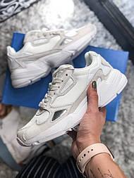 Женские кроссовки Adidas Yung falcon Grey white. Живое фото (Топ реплика ААА+)