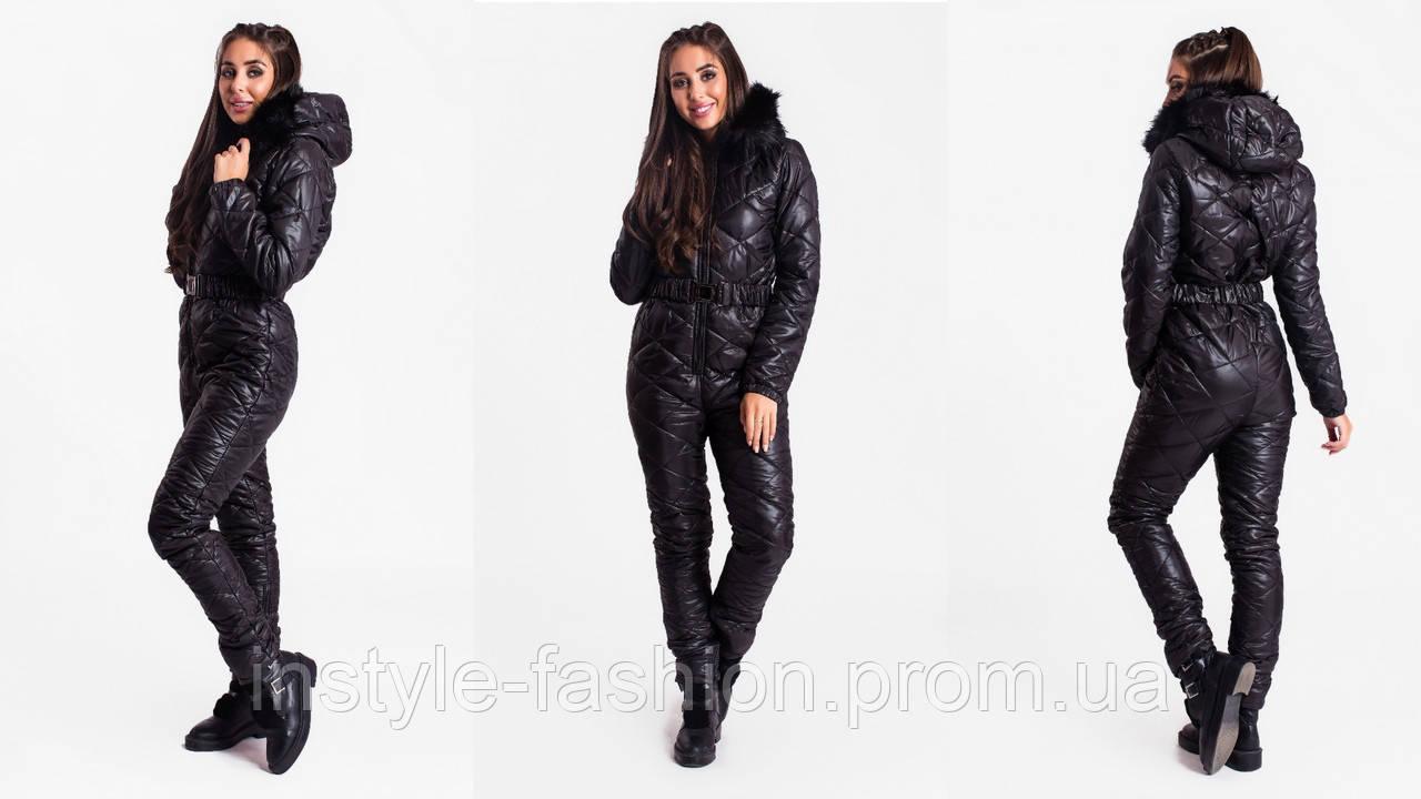 Женский зимний комбинезон ткань плотная плащевка синтепон 200 черный