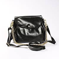 """Женская сумка, клатч через плечо из натуральной кожи """"Пуговка 3 Black"""""""