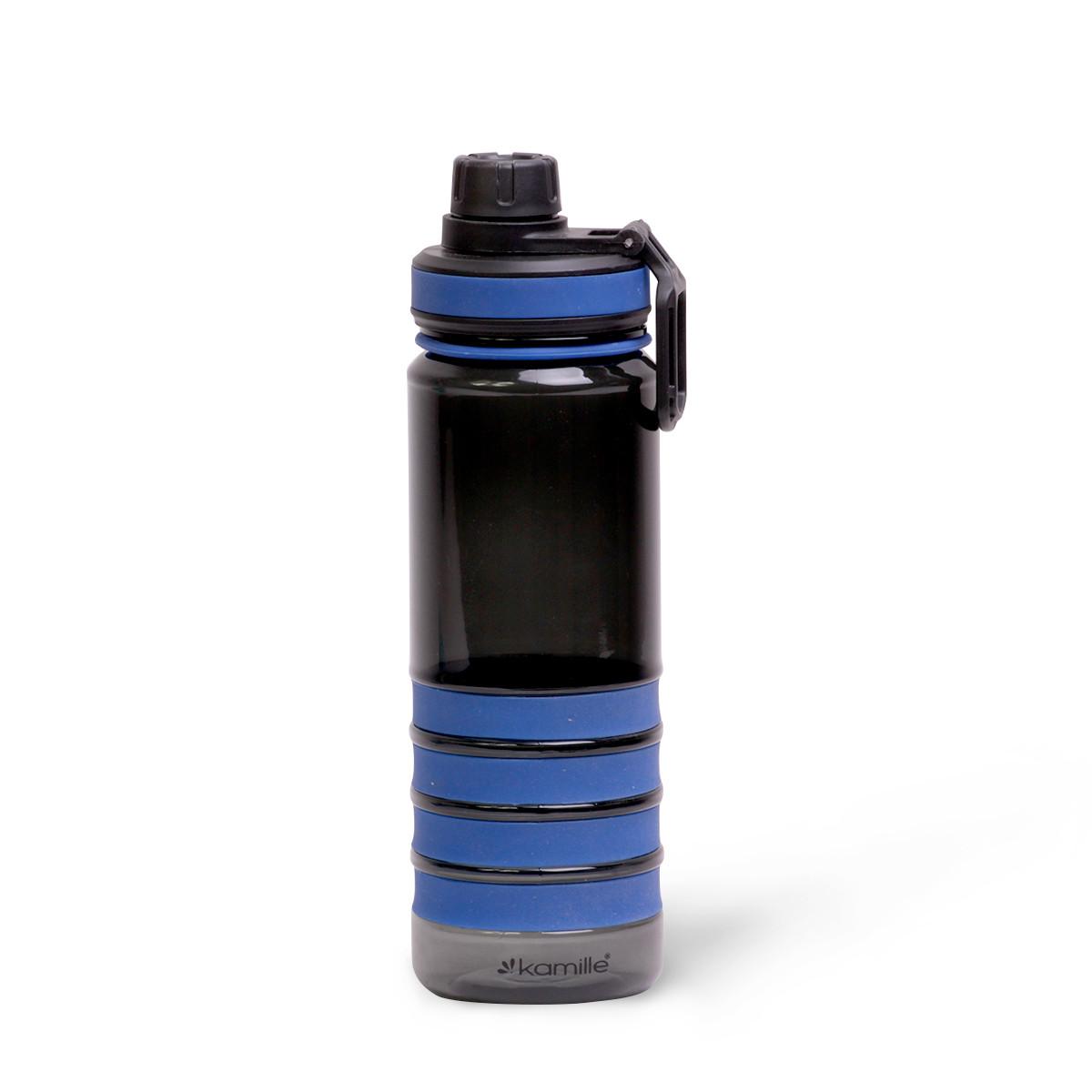 Спортивная бутылка для воды 750 мл  из пластика (тритан) с крышкой-поилкой.Черно-синяя.