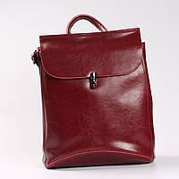 """Городской кожаный рюкзак-сумка (трансформер) красного цвета """"Кристи Red"""""""