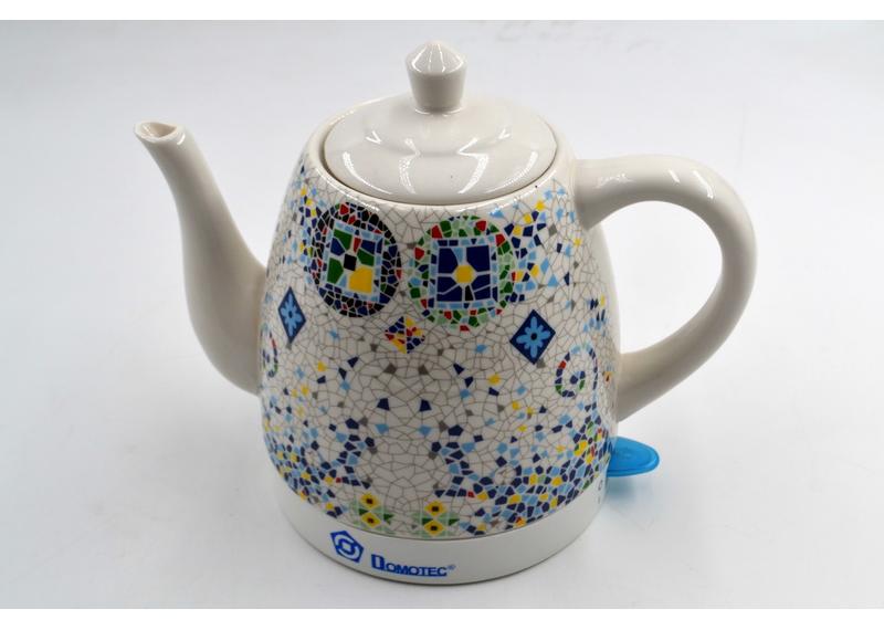 Стильный Керамический чайник Domotec MS-5053 (1.5 л / 1500 Вт) элеткрочайник с принтом мозаики