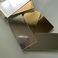 Подложки под торт прямоугольные, двухсторонние (золото, серебро 5*13)