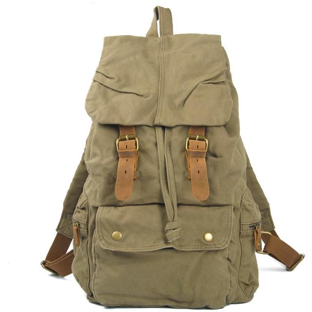 Мужской рюкзак Canvas армейский зленый