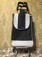 Тележка хозяйственная с прочной зеленой сумкой