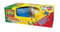 Незасыхающая масса для лепки - ДУЭТ(синий, желтый цвета, в пластиковых баночках)