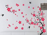 Самоклеющаяся  наклейка  на стену Ветка дерева и птички (140х90см)