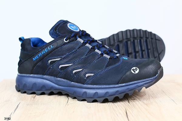 Мужские кроссовки, натуральный нубук синие
