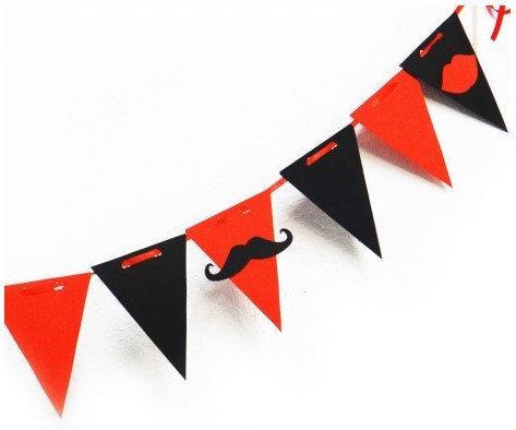 Гирлянда Bonita Флажки Мафия красно-черная 250 см