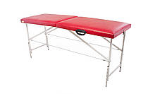 Массажный стол (косметологическая кушетка)  Ukrestet Comfort, красный, CC, складной, двухсекционный