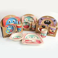 Детская бамбуковая посуда, детский бамбуковый набор посуды квадратный
