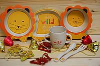 Детская бамбуковая посуда, детский бамбуковый набор посуды с разделителем Лев