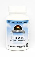 Теанин 200мг, Serene Science, Source Naturals, 60 капсул
