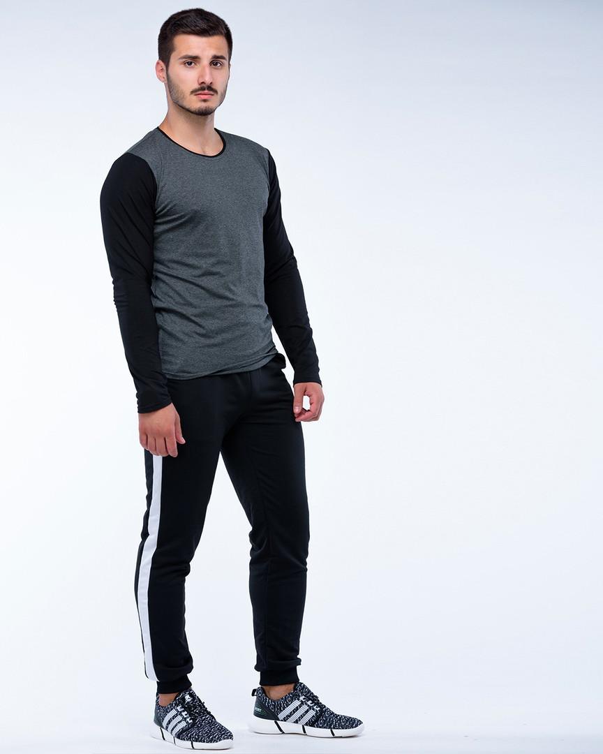 Костюм спортивный лонгслив+штаны черно-серый