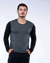 Костюм спортивный лонгслив+штаны черно-серый, фото 3