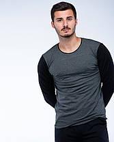 Костюм спортивный лонгслив+штаны черно-серый, фото 2
