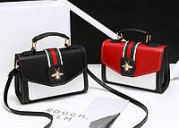 Стильная кожаная женская сумка сундучок с жучком Gucci Удобная вместительная оригинальная Код: КГ5906, фото 1