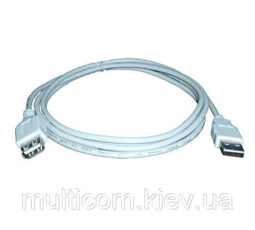 05-08-006. Шнур USB штекер A - гнездо А, version 2.0, серый, 1м