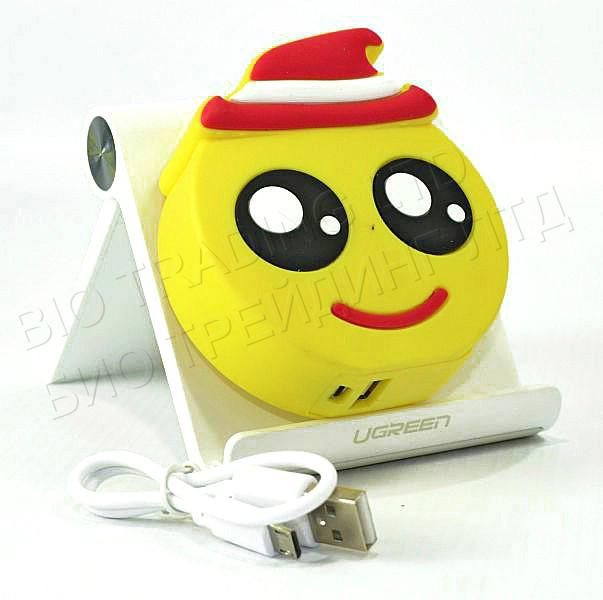 """Компактний зовнішній акумулятор PowerBank Emoji """"Смайлик в капелюсі"""" 8800 mAh 01010"""