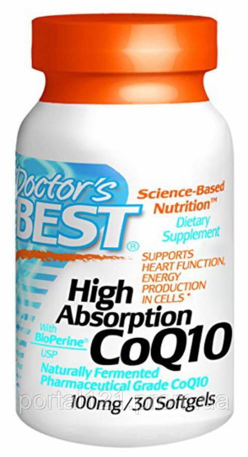 Коэнзим Q10 Высокой Абсорбации 100мг, BioPerine, Doctor's Best, 30 гелевых капсул