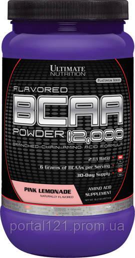 BCAA (Разветвленные Цепи Аминокислот) 12000, Розовый Лимонад, Ultimate Nutrition, 1 фунт (454 гр)