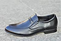 Туфли мужские классические модельные без шнурков натуральная кожа черные стильные (Код: М1216), фото 1