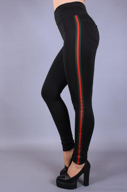 2960ff3cbad75 Модные женские черные лосины с красными лампасами высокая посадка