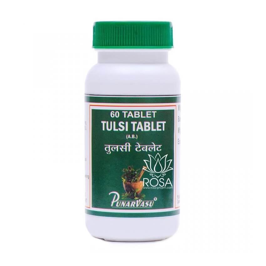Туласи (Tulsi Tablet, Punarvasu) против простуды, поднимает иммунитет, 60 таблеток