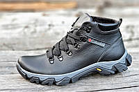 Ботинки  реплика зимние мужские натуральная кожа, мех набивная шерсть черные (Код: Т1226)