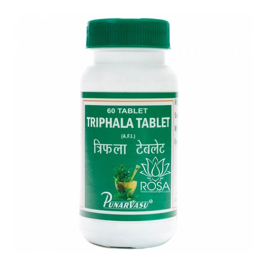 Трифала DS (Triphala Tablet, Punarvasu) комплексное очищение организма, омолаживающий эффект, 60 таблеток