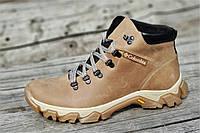 Ботинки  реплика зимние мужские натуральная кожа, мех набивная шерсть светло коричневые (Код: Т1227)