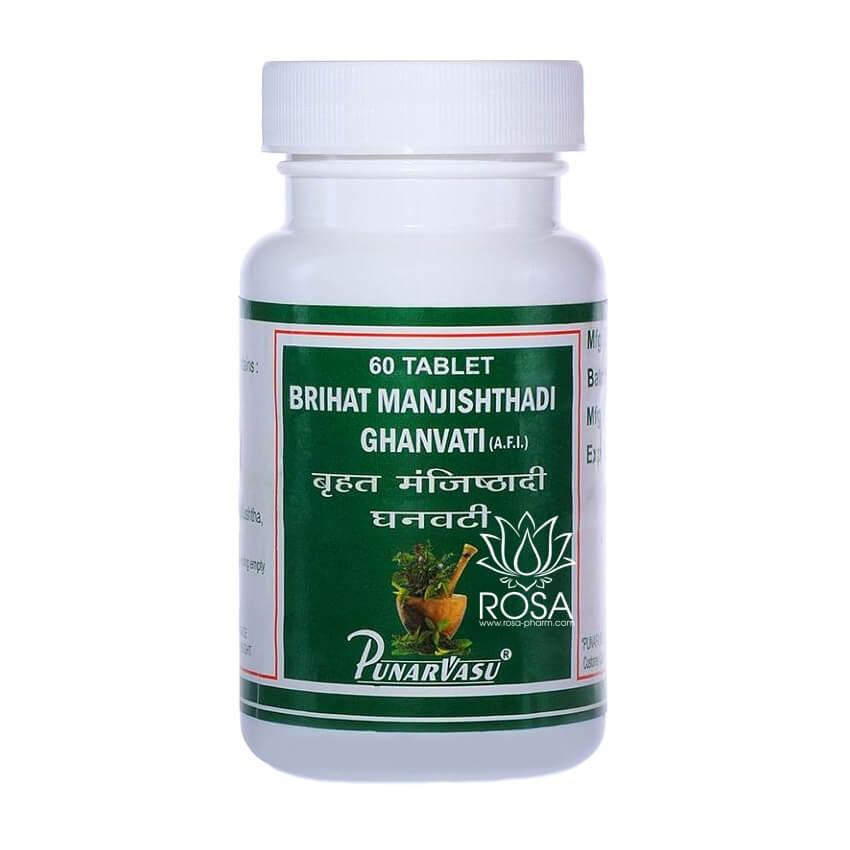Брихат Манджиштьяди Гханвати (Brihat Manjishthadi Ghanvati, Punarvasu), 60 таблеток